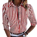 Heiß Herbst Hemd Damen Hevoiok Langarmshirt Mode Lose Taste Gestreift Hemdbluse Oberteile Langarm Bluse T-Shirt Tops (Multicolor, L)