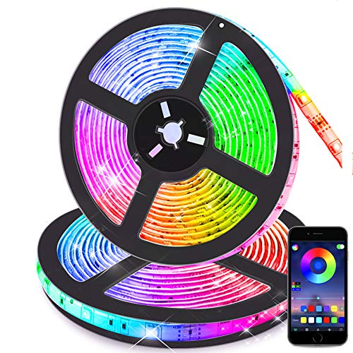 Bluetooth Striscia LED RGB Musicale 10M Autoadesiva Strisce Luminosa 12V LED Strip RGB Impermeabile/Flessibile/Accorciabile/Collegabile/App Led Illuminazione Strisce Decorative per Interni/Esterni