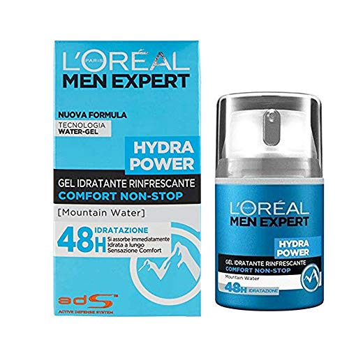L Oréal Paris Men Expert Hydra Power Crema Viso Uomo in Gel Idratante e Rinfrescante 48H, 50 ml