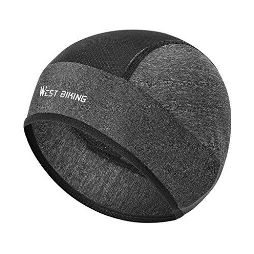 F Fityle gorro feminino masculino caveira de ciclismo com forro sob o capacete, faixa de transpiração para cabeça cachecol – cinza