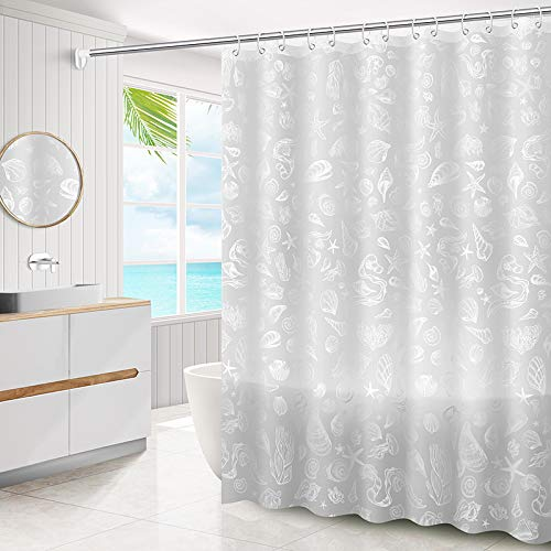 Translucent Shower Curtain, Modern Simplicity Style Illusion Bathroom Curtain - Fast Drying Waterproof Fabric - Easy to Clean - 72×72 inch (Shell)