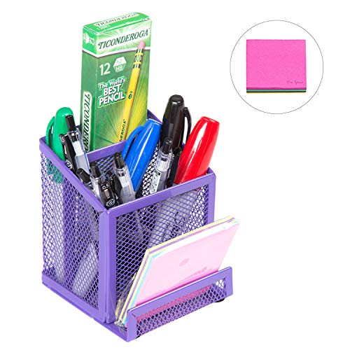 Pro Space Mesh Pen Holder Metal Pencil Holder,Business Card Holder for Desk Office Pen Organizer,a Note for Free, 3.86'4.06'4.6', Purple