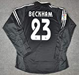 HAO David Beckham#23 Retro Long Sleeve Jersey 2004-2005 Full Patch Black Color (S)