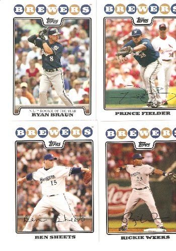 2008 Topps Milwaukee Brewers Complete Team Set ( 19 - Baseball Cards from both Series 1 & 2) Includes Ryan Braun, Prince Fielder, Yovani Gallardo and more !