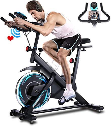 ANCHEER Bicicleta de Spinning Bicicleta Indoor de Volante de Inercia de 18kg Conecto con App Resistencia Ajustable y Monitor LCD para Ejercicio en el Hogar (Negro (Volante de inercia 18kg))