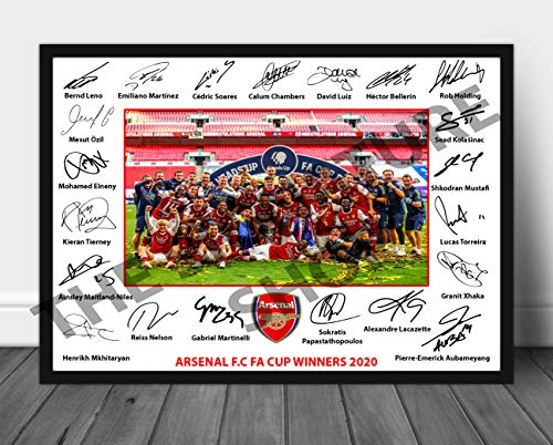 The Signature Shop Arsenal 2020 FA CUP WINNERS Signed Print A4 (POSTER ONLY)