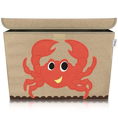 Lifeney Aufbewahrungsbox Kinder 51 x 36 x 36 cm I Kiste mit Deckel für Kinderzimmer I Aufbewahrungsbox mit Deckel für Kindersachen I Boxen Aufbewahrung mit Tiermuster I Spielzeug Aufbewahrung (Krabbe)