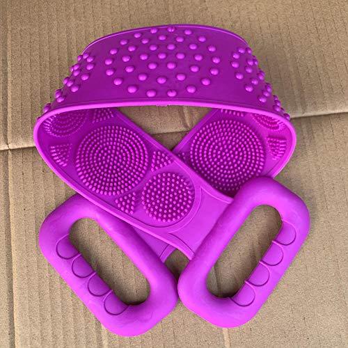 Tatapai Gants de Toilette Loofahs Éponges Gel de Silicone Serviette de Bain Essentiels de Salle de Bain Rub Ash Article d'artefact Frottez Le Dos Rub The Mud-Purple