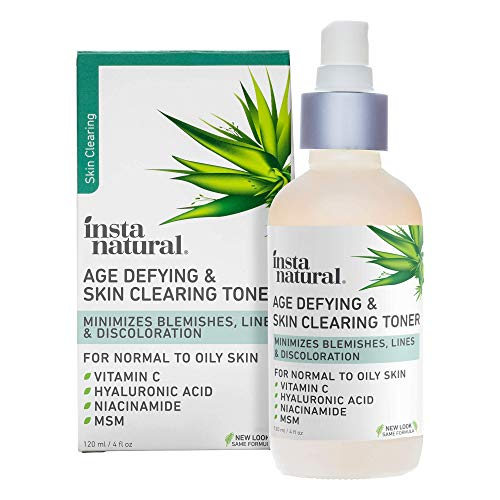 Vitamin C Skin Clearing Toner - Natural & Organic Anti Aging Facial Spray with Salicylic Acid & Hyaluronic Acid - Helps Wrinkle, Dark Spot, Fine Lines - Safe for Sensitive Skin - InstaNatural - 4 oz