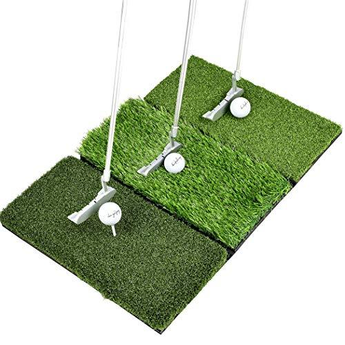 Enissa Golf Mat Set - Tri Turf Foldable Golf Hitting Mat, 2 Real Golf Balls - 4 Rubber...