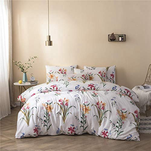 None Branded Brushed Duvet Cover Set king Size Three-piece set in brushed small floral tree styleLightweight Microfiber Queen (Double) Size Duvet Cover Set 200x230