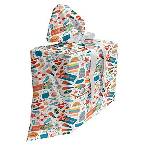 ABAKUHAUS Slipper Cadeautas voor Baby Shower Feestje, snorkelen s, Herbruikbare Stoffen Tas met 3 Linten, 70 cm x 80 cm, Veelkleurig