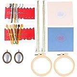 HEALLILY 2 Set Kit de Bordado de Collar Aro de Bordado Bandejas Colgantes de Hilo de Bordado de Colores Kit de Inicio de Bordado Herramientas de Punto de Cruz