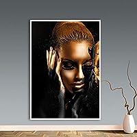 ZYQYQ キャンバスウォールアートブラックゴールドアフリカ女性絵画 Cuadros ポスターとプリントスカンジナビアの写真 50 × 70 センチメートルなしフレーム