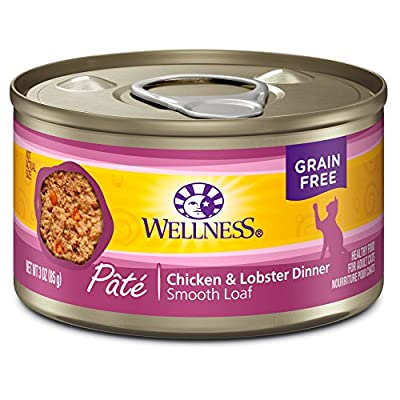 Wellness Natural Grain Free Wet Canned Cat Food, Chicken & Lobster Pate, 3-Ounce Can (Pack Of 24)