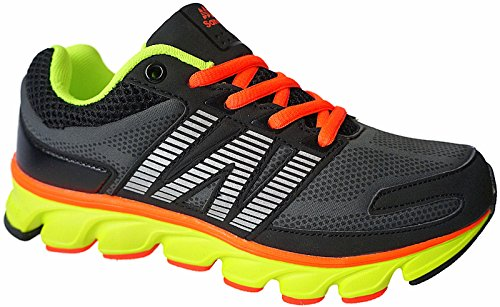Sandic Damen Laufschuhe Sportschuhe Turnschuhe Sneaker Schuhegr.36-41 nr.1728 schwarz-grün-orange (41)