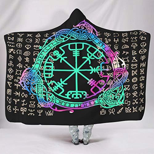 Manta con capucha vikinga, gran comodidad, patrones retro, bata, sudadera con capucha – Viking se adapta al descanso del mediodía para niñas y niños, regalo blanco 60 x 80 pulgadas