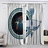 Alston Bertha Zodiac Sagittarius Wear-Resistant Color Curtain Colorful Composition of Swirls Curves with Vintage Bow and Arrow Motif Waterproof Fabric W52 x L108 Inch Multicolor