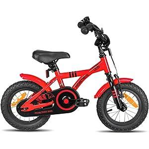 Prometheus Kinderfahrrad 12 Zoll Jungen Mädchen Rot Schwarz ab 3 Jahre mit Rücktritt Stützräder - 12zoll BMX Modell 2020