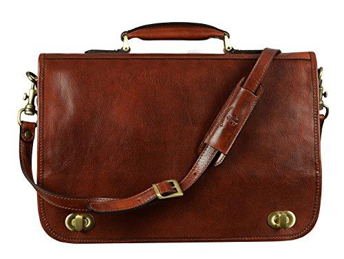 Leather Briefcase for Men Italian Handcrafted Full Grain Messenger Bag for Laptop Dark Brown - Time Resistance