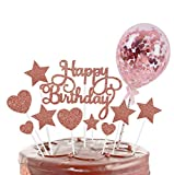 saizone Decoración para Tarta, 12 PCS para Tartas de Feliz Cumpleaños, Estrellas, Corazón, Cupcakes con Globo Brillante, Cupcakes de Cumpleaños, Decoración para Fiesta (Oro Rosa)