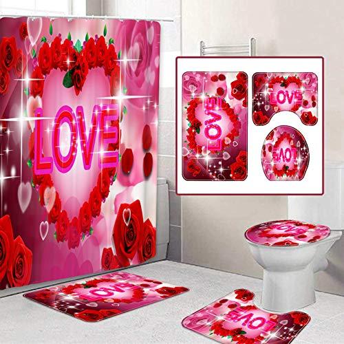 Yehapp 4pcs Bathroom Shower Curtain Set, Waterproof...