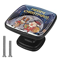 4個のキャビネットノブクリスタルガラスの引き出しハンドルメリークリスマスドレッサーデスクキッチンドア用