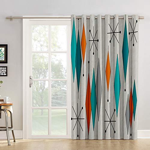 "Futuregrace Blackout Curtains Mid-Century Modern Diamond Pattern Livingroom Bedroom Darkening Window Draperies & Curtains for Sliding Glass Door Home Office Decor 52"" W by 84"" L"