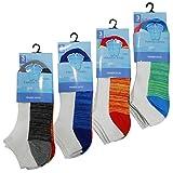 12 Pairs Mens Trainer Socks Fresh Feel Cotton Rich Blend Ankle Invis Socks Pack (UK SIZE 6-11, M10726 TRAINER SOCKS COLOUR CONTRAST 12 PACK)