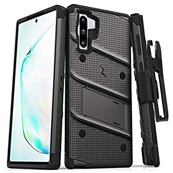 ZIZO Bolt Series for Samsung Galaxy Note 10 Case | Heavy-Duty Military-Grade Drop Protection w/Kickstand Included Belt Clip Holster Lanyard  Metal Gray/Black