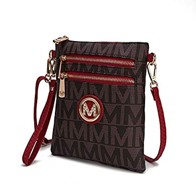 MKF Crossbody Bag for Women Or Wristlet Purse - Removable Strap - Vegan Leather Small Designer Side Messenger, Red