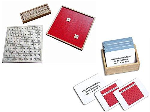 Pythagorasbrett mit 100 Aufgabenkarten, Montessori-Material inkl. Selbstkontrolle