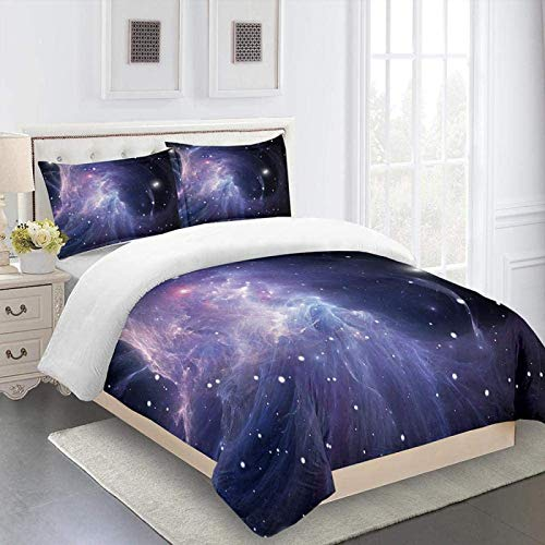 MENGBB 3D Cot Duvet Cover and Pillowcase Set Blue space nebula - 102' x 87' Total 4 Size, give away pillowcase, 3D Bedding Set - Quilt Cover with Zipper Closure + Pillowcases, Microfiber Duvet Cover S