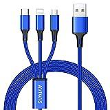 3 en 1 Multi Cable de Carga, AIVWIS 1.2M Cable Multiple Cargador Micro USB Tipo C Nylon Multi USB Cargador para Smartphones, Tablets, Xiaomi, Galaxy, Honor, OnePlus, LG, Kindle y Más - Azul