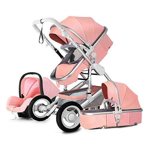Baby Stroller 3 in 1 Bassinet Pram Carriage Stroller - Cynebaby All Terrain Vista City Select Pushchair Stroller Compact Convertible Luxury Strollers add Foot Cover (pink1)