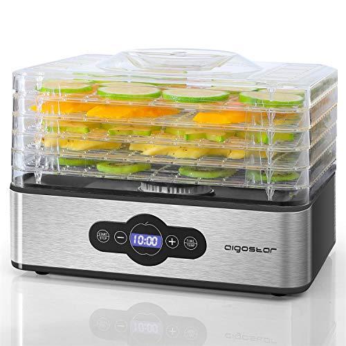 Aigostar Crispy - Deshidratador de alimentos, 240W, 5 bandejas, desecadora automática, deshidrata fruta, carne, verduras etc. controles digitales, ajuste manual de tiempo y temperatura. Libre de BPA.