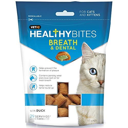 8 x VetIQ Healthy Bites Aliento para gatos y golosinas dentales 65g