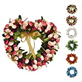 Baigio Woman Decormy 14inch Heart-Shaped Garland Wreath Vintage Art Simulation Rose Flowers Wreath for Home Wedding Decoration Wine Red (14inch, Heart)