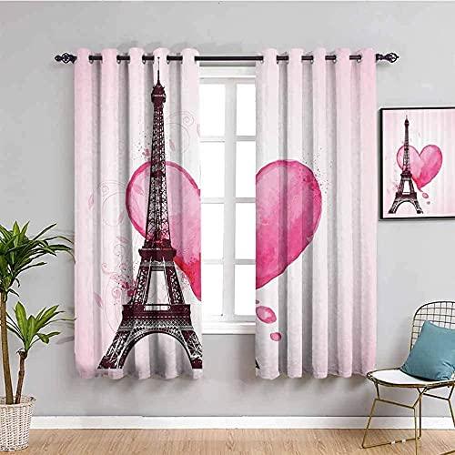 LTHCELE Opacas Cortinas Dormitorio - Rosa Amor Romance Torre Eiffel - Impresión 3D Aislantes de Frío y Calor 90% Opacas Cortinas - 150 x 166 cm - Salon Cocina Habitacion Niño Moderna Decorativa