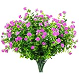 CZXKJ Plantas Decorativas al Aire Libre 10 Paquetes Flores Artificiales Falsas Plantas Faux de plástico arbustos verdería arbustos Interiores al Aire Libre Rojo Jardín, balcón, etc.