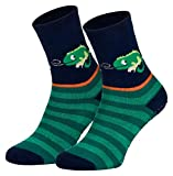 Piarini 2 Paar Kinder Stoppersocken ABS Socken Anti Rutschsocken Noppen Baumwolle Jungen Mädchen Blau Gecko Gr. 23 24 25 26