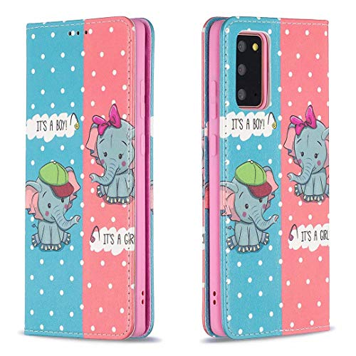 Miagon Brieftasche Hülle für Samsung Galaxy Note 20,Kreativ Gemalt Handytasche Case PU Leder Geldbörse mit Kartenfach Wallet Cover Klapphülle,Elefant