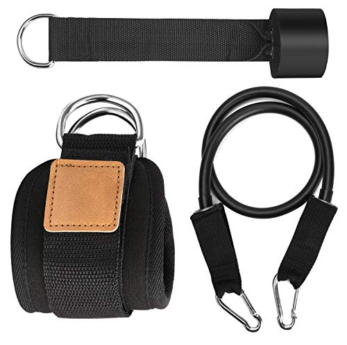 TOBWOLF Door Pull Rope Fittings, Elastic Lift Butt Exercise Band, Non-Slip Door Pull Up Assist Workout Band, Resistance Band Fitness Kit with Door Anchor & Pull Rope & Ankle Buckle - Black