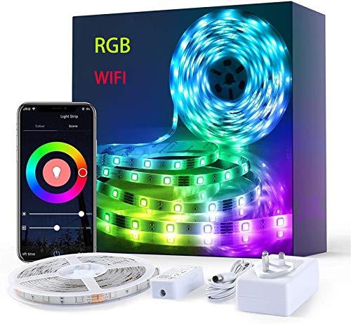 H/A Luce a LED 5m, WiFi Intelligente Che Cambia Musica Striscia sincrona Striscia sincrona, con Controllo di App RGB Lampada da Corda, Adatta per la casa TV Cucina e Party Decorazione Natalizia SADDM