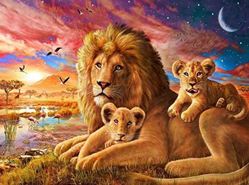 Pittura diamante 5d fai da te, kit pittura numeri con strass 5D, con immagine di leone, diamond painting kit completo madre e bambini, decorazione da parete, 40 x 30 cm