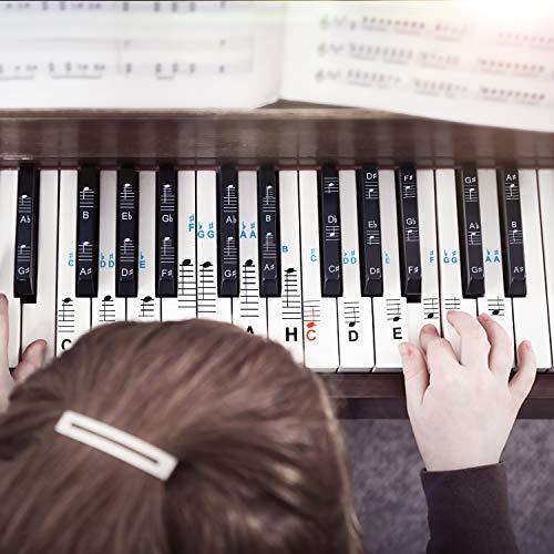 Klavier Aufkleber,Haice Klavier + Keyboard Noten-Aufkleber für 49 | 61 | 76 | 88 Tasten + Gratis Ebook | Premium Piano Sticker Komplettsatz für schwarze + weisse Tasten | C-D-E-F-G-A-H