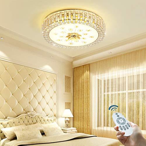 Modern LED Deckenleuchte Creative Rund Kristallglas Mit Fernbedienung Dimmbar Retro Deckenlampe Für Restaurant Kaffeestube Wohnzimmerlampe Schlafzimmer Dekorative Lichter Kronleuchter,40cm42W