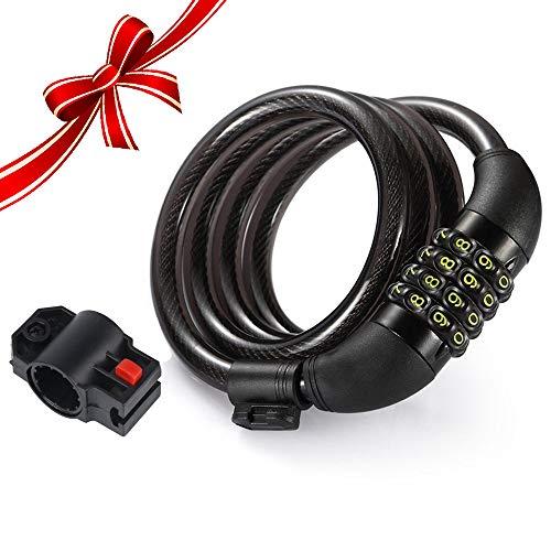 Candado de Bicicleta, Rixow Candado de Combinación de Bicicleta, Bloqueo Reajustable Flexible de Cable, Negro.