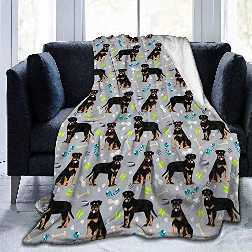 Coperta ultra morbida per divano Rottweiler Cani Giocattoli Blu Cartone Animato Biancheria Da Letto Flanella Plied Divano Camera da Letto Decor per Bambini e Adulti 101,6 x 127 cm