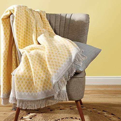 biederlack Plaid Baumwollmischung gelb Größe 150x200 cm